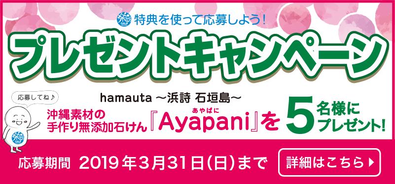 hamauta~浜詩 石垣島~「沖縄素材の手作り無添加せっけん Ayapani」プレゼント